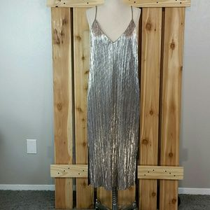 Lush Silver Metalic Maxi Dress NWOT